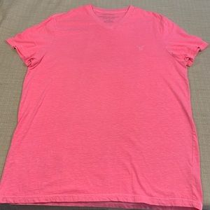 American Eagle V neck tee shirt size XL pink GUC